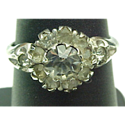 Uncas Sterling Silver Filigree Paste Solitaire Ring ~ 1.00 Carat