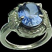 SALE Vintage Sterling Silver, 3.00 Carat Oval Tanzanite & Diamond Ring
