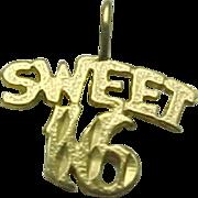 Vintage 14K Yellow Gold Sweet 16 Birthday Charm