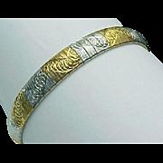 Vintage Sterling Silver/Vermeil Swirl Omega Bracelet.