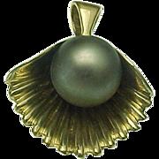 14K Yellow Gold Tahitian Pearl Shell Pendant