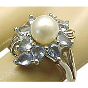 Vintage Sterling Silver, Tanzanite & Cultured Pearl Ring