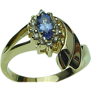 SALE 14K Yellow Gold .25 Carat Marquis Tanzanite & Diamond Ring