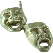 Dramatic Sterling Silver Comedy Tragedy Mask Pendant