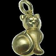 14K Yellow Gold, Three Dimensional Kitty Pendant