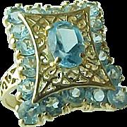 SALE Vintage 14 K Yellow Gold Filigree Blue Topaz Ring ~ 3 Carats~