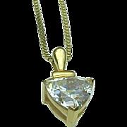14 K Yellow Gold Simulated Diamond Trillion 1.25 Carat Solitaire Pendant
