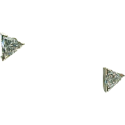 14K Yellow Gold Pierced Post .50 Carat Trillion Diamond Solitaire Earrings
