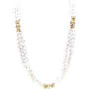 SALE Vintage Triple Strand Seed Pearl Necklace/ 14K Gold Rosette Accents
