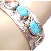 Native American Effie C. Zuni, Snake Turquoise & Coral Cuff