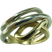 SALE Custom Vintage 14 k Two Tone Modernist Ring
