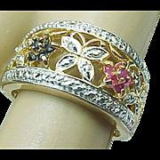 Sterling Silver/Vermeil Ruby, Sapphire & Diamond Flower Band ~ Circa 1980's