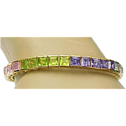 Vintage Sterling Silver/Vermeil Multi Colorful Gemstone CZ Bracelet