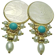 14K Yellow Gold, Chinese Gambling Chip & Turquoise Drop Pierced Earrings Circa 1980's