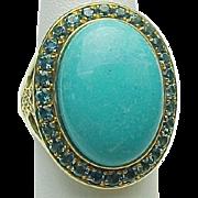 10K Yellow Gold Robin Egg Blue Turquoise & Blue Topaz Ring ~ Circa 1980's