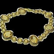 14K Yellow Gold 12 Carat Faceted Citrine Bracelet ~ Circa 1980's