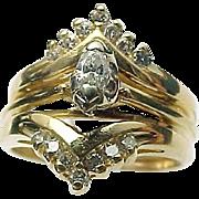 14K Yellow Gold .33 Carat Diamond Marquis & Round Wedding Set