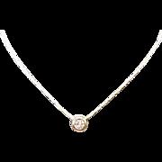 Stunning 14K Yellow Gold .50 Carat Bezel Set Diamond Necklace