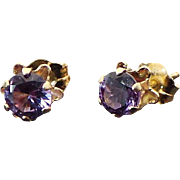 IOLITE Solitaire .50 ctw Stud Earrings 14k Gold