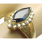 SALE Stunnig 14K Yellow Gold .75 Carat Marquis Sapphire & .25 carat Diamond Ring