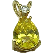 14K Yellow Gold Sapphire Pendant