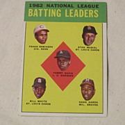 1963 Topps Baseball Card #1 1962 National League Batting Leaders