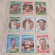 Vintage 1959 Topps Baseball Cards St Louis Cardinals Set of 9