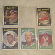 Vintage Topps Baseball Cards Cincinnati Reds 5 Card Set