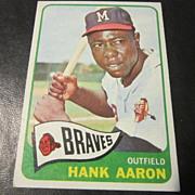 REDUCED Vintage 1965 Topps Baseball Card Hank Aaron