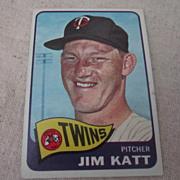 Vintage 1965 Topps Baseball Card Jim Katt