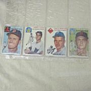 Vintage 1954 Topps Baseball Cards Set of 4