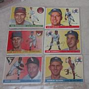 Vintage 1955 Topps Baseball Cards 6 card set