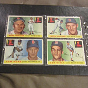 Vintage 1955 Topps Baseball Cards Set of 4 cards