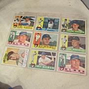 Vintage 1960 Topps Baseball Cards Set of 9