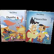 Two Walt Disney Classics Books Dumbo & Pinocchio