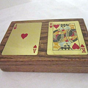 Vintage Wood Playing Card Box with 2 Decks