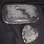 SALE Vintage Two Clear Glass Boxes Decorated with Raised Roses