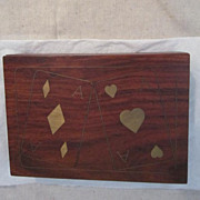 Vintage Playing Card Box with Brass Inlay and Jack Daniels Playing Cards
