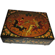 Antique Hand Painted Russian Black Lacquered Box