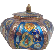 Small Colorful Enameled Hexagon Box with Lid