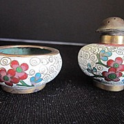 Vintage Salt  & Pepper Cloisonne Early 20th century