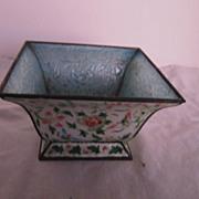 Vintage Enamel Footed 4 sided Oriental Planter