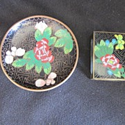 Vintage Cloisonne Match Box Cover and Tray