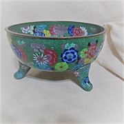 Antique Footed Chinese Cloisonne Bowl