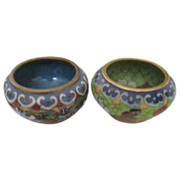 Two Miniature Bowls, One Cloisonne with Butterflies, One Champleve with Chrysanthemums
