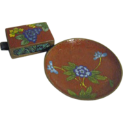 Vintage Cloisonne Set of Match Safe and Coaster