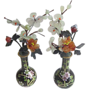 Pair of Miniature Black Cloisonne Flowered Vases with Hand Carved Jade & Carnelian Flowers & .