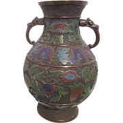 SALE Japanese Champleve Cloisonne Two-Handled Vase with Dragons Design