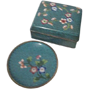 Cloisonne Square Cigarette Box with Matching Ashtray