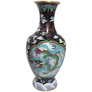 SALE Chinese Cloisonne Vase with Two Dragons